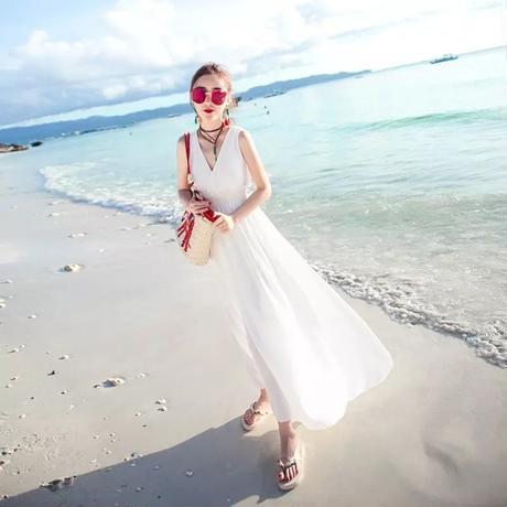 ビーチワンピース ドレス ノースリーブ Vネック カシュクール ホワイト