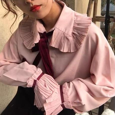 新作♡大ぶりフリル 襟 秋色 シャツ 全二色