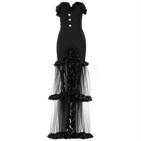セクシーなロングオーガンジードレス