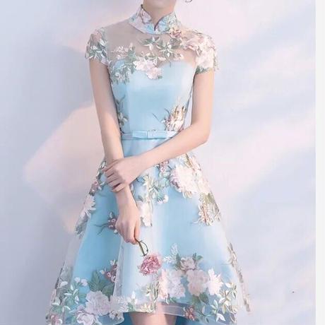 ラブリー レース花柄刺繍 フィッシュテール ワンピース ドレス