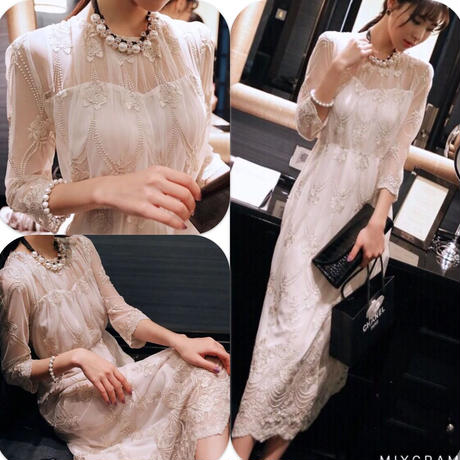 新作♡刺繍入りレースエレガンスレイヤード結婚式パーティーロングドレス
