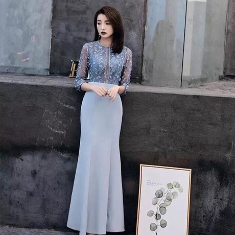 シースルー 刺繍 透け感 ハイウエスト 結婚式ドレス パーティー