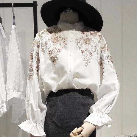 新作♡春色 刺繍ランタンスリーブシャツ 全2色