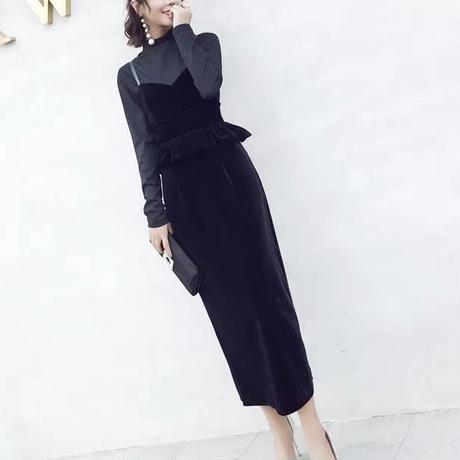 ドレス 二点セット ロング タイト ベロア素材 ペプラム ワンピース