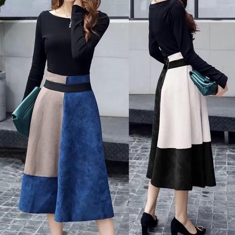 新作♡秋 ドレス セットアップ スエード バイカラースカート