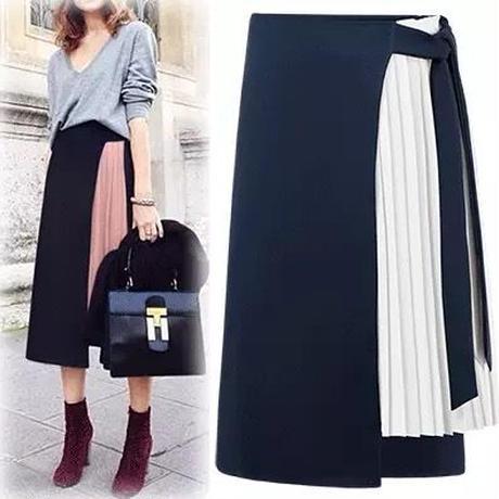 新作♡フェミニン 上品プリーツ切替 ひざ丈 バイカラースカート 全2色