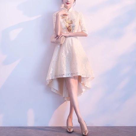 刺繍 チャイナドレス風 フィッシュテール aライン ミディアム丈 結婚式 ワンピ