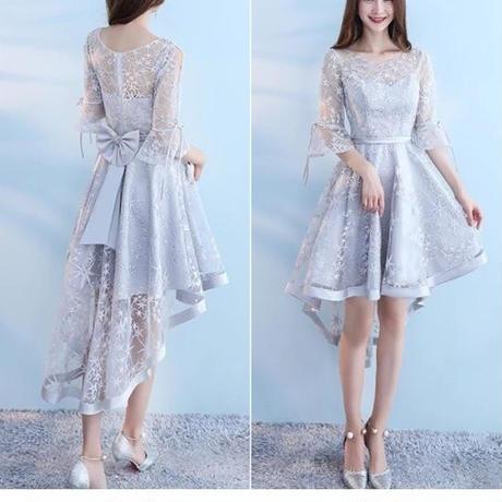 シースルー 結婚式ドレス フィッシュテール うしろリボン フレアスリーブ