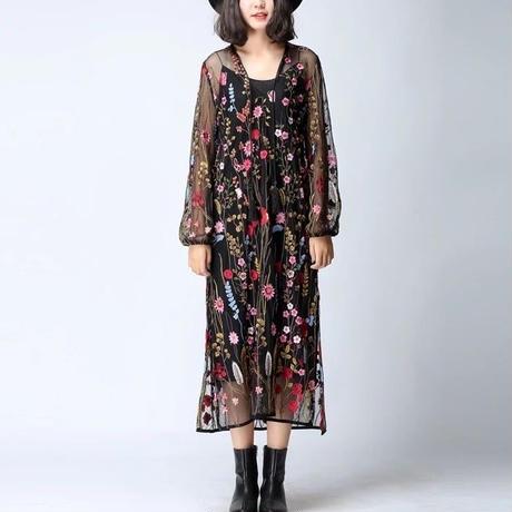 新作♡ ロングワンピース シースルー刺繍 パーティードレス