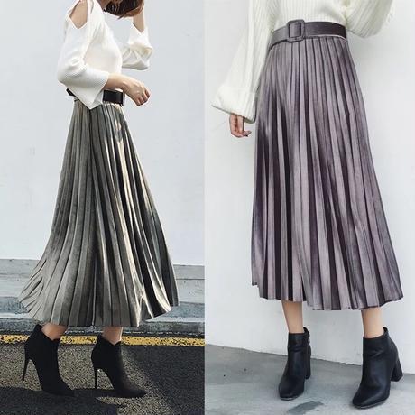 ベロア プリーツ スカート ミモレ丈 冬 大人可愛い 3色