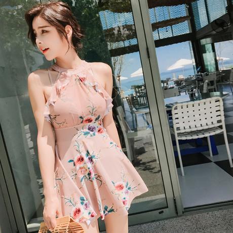 水着 ワンピース レース レディース ピンク 人気 通販  セクシー  韓国 ハナ柄 かわいい  大人 格安