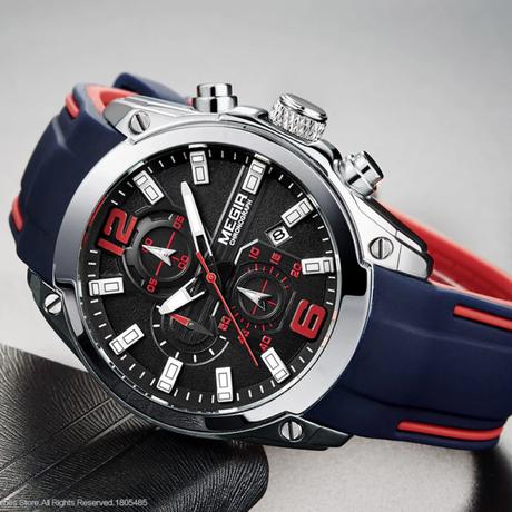 腕時計 メンズ 高級 レザー ベルト 通販 機械式 丸 トップブランド カジュアル Megir クロノグラフ クォーツ