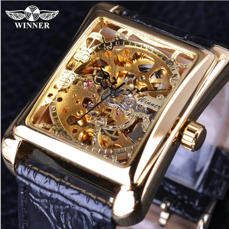 腕時計 メンズ 高級 レザー ベルト 通販 機械式 長方形 トップブランド カジュアル