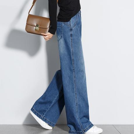 ジーンズ オルチャン ワイドパンツ デニム 通販 格安 レディース 韓国 ファッション レトロ