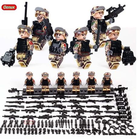 LEGO レゴ 互換 ソルジャー 迷彩色 特殊部隊 砂漠戦 カスタム ミニフィグ 6体セット 大量武器・装備・兵器付き