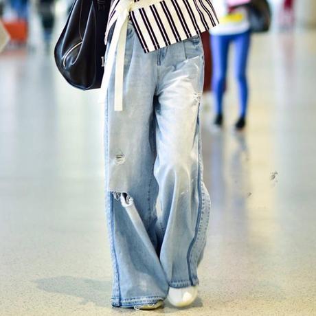 ジーンズ オルチャン ワイドパンツ デニム 通販 格安 レディース 韓国 ファッション レトロ ストレート ライトブルー コーデ スタイル