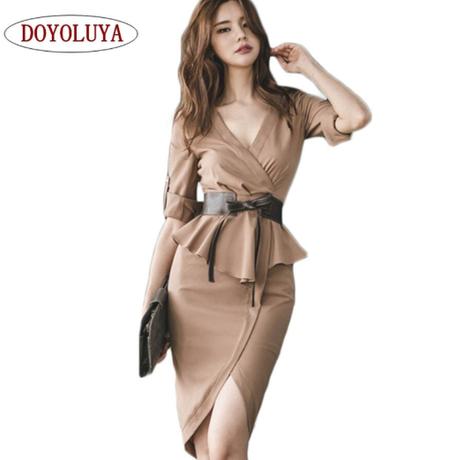 [DOYOLUYA] 2018 ヴィンテージカジュアルワーク着用オフィスドレス 半袖フリル膝丈 ドレープベルト オルチャン 韓国 ファッション