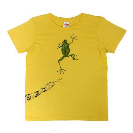 危機回避!蛇から逃げた蛙Tシャツ レディース