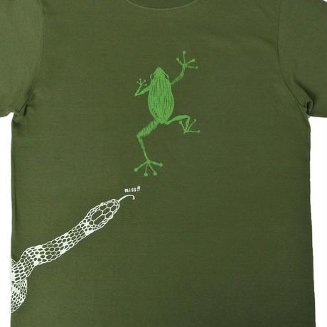 危機回避!蛇から逃げた蛙Tシャツ グリーン メンズ