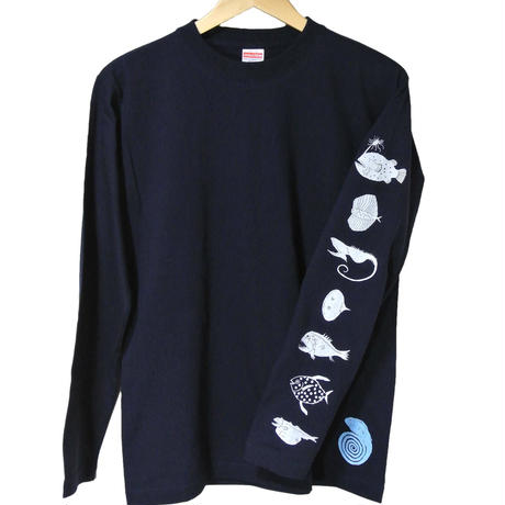 概、深海魚 長袖Tシャツ メンズ(袖プリント)