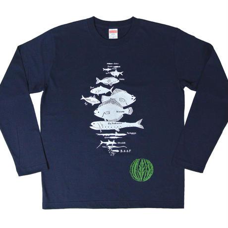 水深別お魚 長袖Tシャツ メンズ