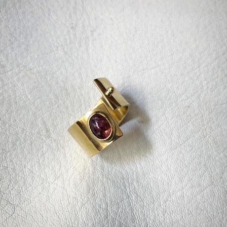 SLIT RING stone :tourmaline :brass