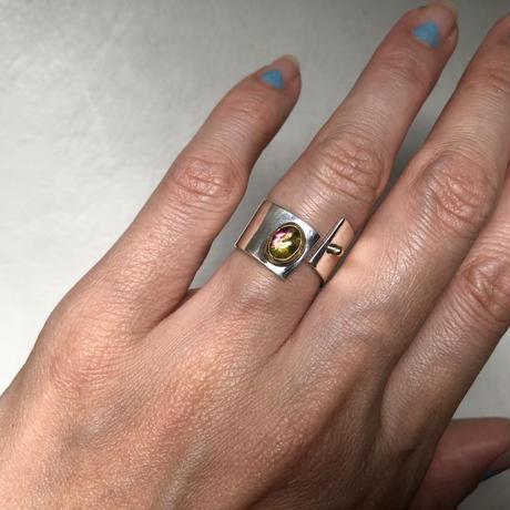 SLIT RING stone :tourmaline :silver