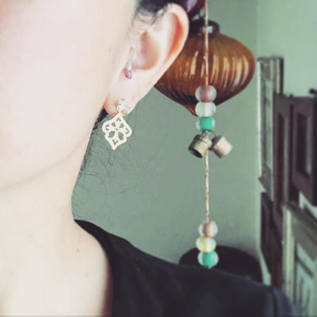 Herkimer diamond  Open work 2way earrings