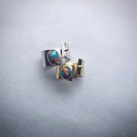 SLIT RING con Oyster copper turquoise (silver)