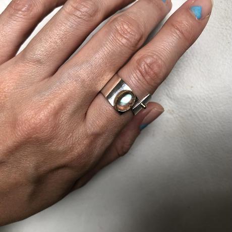 SLIT RING stone :labradorite  :silver