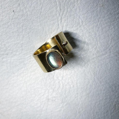 SLIT RING stone :labradorite :brass