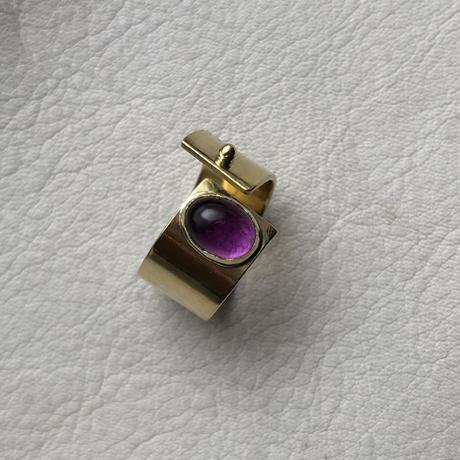 SLIT RING stone :amethyst  :brass