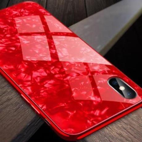 宝石のような高級感【iPhone8シリーズ耐久ガラスケース】レッド