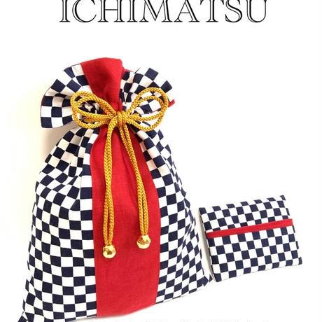 市松模様巾着とポケットティッシュカバー(赤)