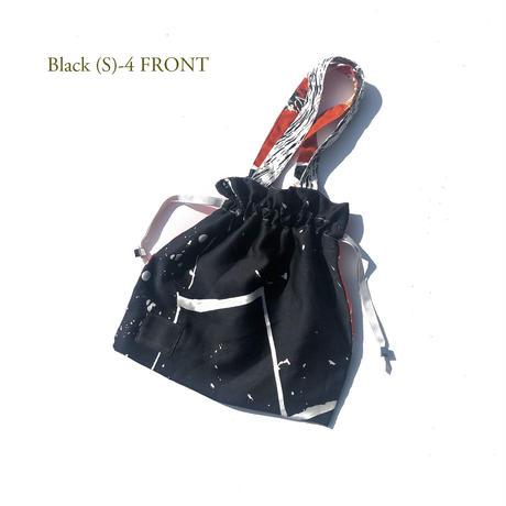 Hand print Drawstring bag (S) black