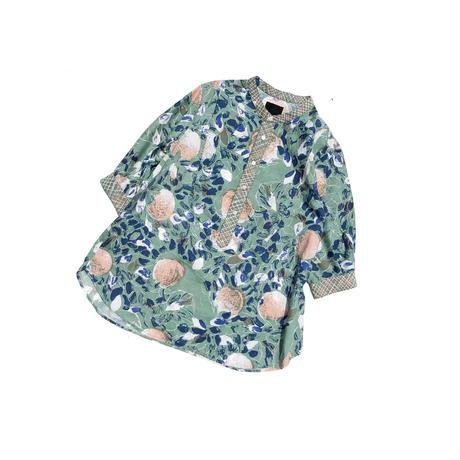 H/H print stand collar shirts