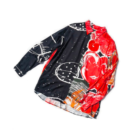 Rayon Hand Print Long Sleeve Shirt ( Back M, L , LL size )