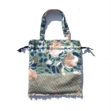 Hand print Drawstring bag green(S)