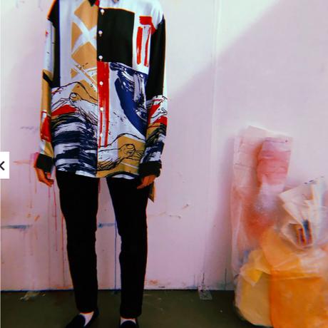 Rayon Hand Print Long Sleeve Shirt(Blue L size)