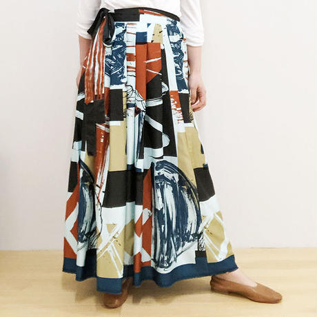 Hand print long  skirt (blue)
