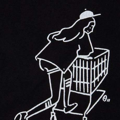 "T-shirt ""Shopping Girl"" Black ユーズド加工"