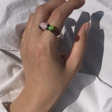 gaho  glass ring /  clear brown pink green  13号-16号