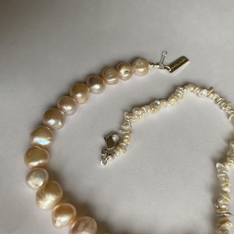 al baroque pearl shell silver925 silk necklace/natural pink
