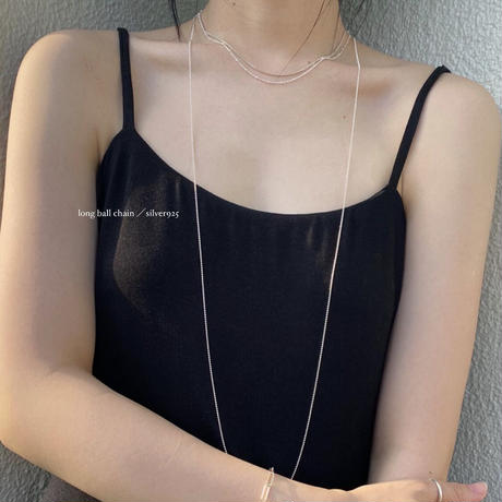 long ball chain necklace/  silver925