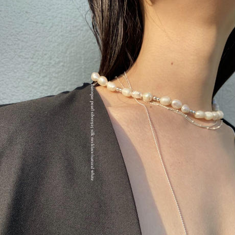 al baroque pearl silver925 silk necklace/natural white