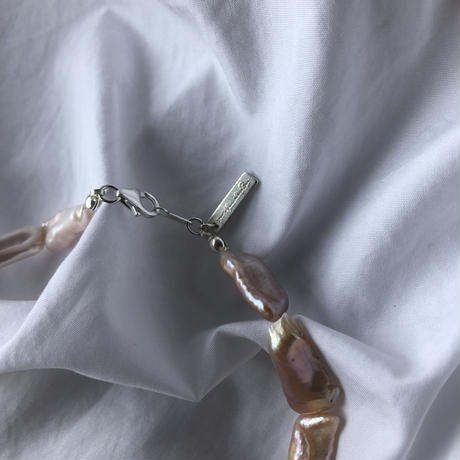 al biwa pearl silver925 silk necklace/natural pink