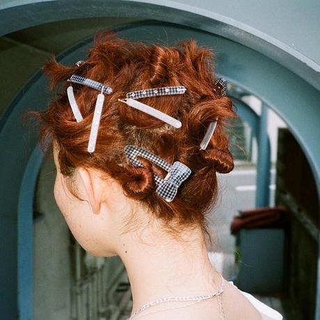 1 Ribbon Hair Clip(Gingham Check)