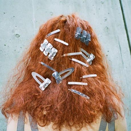 1 Ribbon Hair Clip(Metallic Silver)