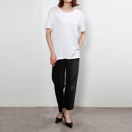 【CNLZ】Organic Damaged Tee WHITE/シーエヌエルゼット オーガニックダメージTシャツ 白