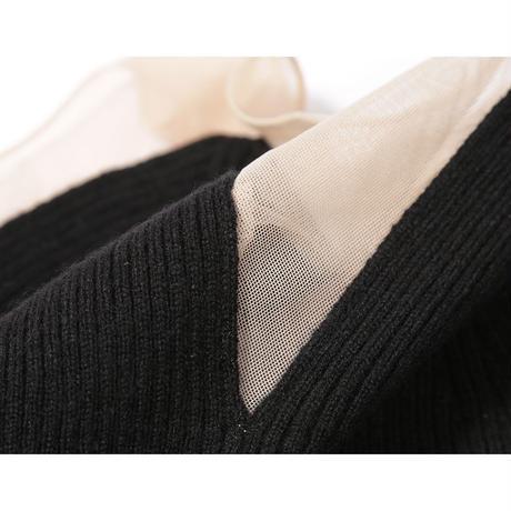 【babaco】cashmere rib tank-top with tulle /ババコ カシミアリブ×チュール タンクトップ